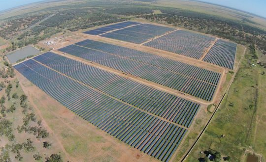 Aerial view of Barcaldine Solar Farm.