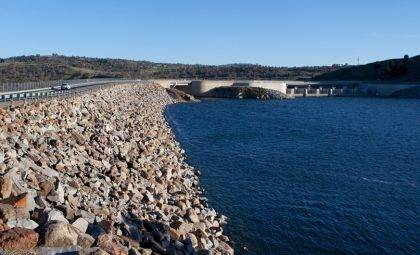 Jindabyne Dam as part of the Snowy Mountains Hydro-Electric scheme in New South Wales.