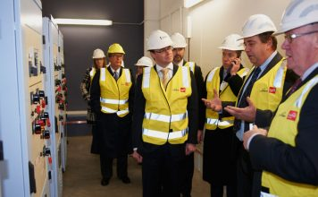 VIPs take a closer look at the new zone substation including CitiPower and Powercor Australia chairman Peter Tulloch (left), Victorian Energy Minister Michael O' Brien (centre) and CitiPower and Powercor CEO, Shane Breheny