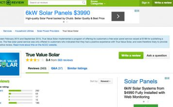 True Value Solar on Product Review